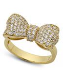 Crislu Puffy Bow Cubic Zirconia Ring - Gold