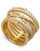 Crislu Entwined 18K Gold & Cz Ring - Silver