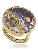 Carolee Word Play Shake Dont Stir BFF Ring Size 8 Gold Tone Crystal  Ring - Assorted