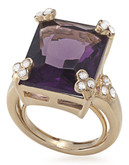 Carolee Simply Amethyst Emerald Cut Stone Ring Gold Tone Crystal  Ring - Purple