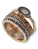 Lucky Brand Metal Semi-Precious Stone  Ring - Two Tone Colour