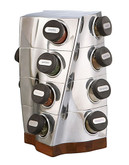 Nambe Twist Spice Rack  Includes Spices - Silver