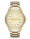 Armani Exchange Gold tone 3 Hand Dial on Gold Tone Bracelet - Gold