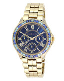 Anne Klein Round Gold Tone Case and Band Watch - Gold