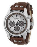 Fossil Mens  Tan Dial With Brown Leather Strap Watch - Brown