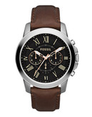 Fossil Grant Leather Watch  Brown - Brown