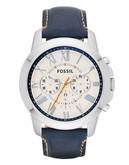 Fossil Grant Chronograph Leather Watch  Dark Blue - Blue