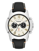 Fossil Grant Chronograph Leather Watch - Black - Black