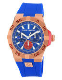 """Vince Camuto """"Master"""" watch with blue silicon band and red - Blue"""