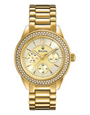 Bulova Ladies Crystal Watch - Gold