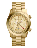 Michael Kors Oversized Gold Tone Stainless Steel Runway Dual Time  Watch - Gold
