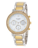 Kate Spade New York Womens   Pave Gramercy Grand Chronograph 1Yru0563 - Multi