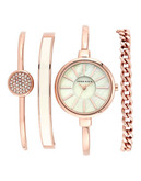 Anne Klein Round Rosegold Case and Band with an Ivory Mop Dial - Rose Gold