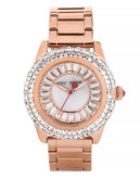 Betsey Johnson Womens Baguette Crystal Set Dial and Rose Gold Bracelet Watch Standard BJ0030103 - Rose Gold