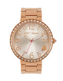 Betsey Johnson Rose Gold Crystal Set Case Watch - Rose Gold