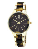 Anne Klein Round goldtone case with a goldtone and brown plastic with a brown dial - Gold