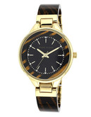 Anne Klein Round gold tone case with brown plastic semi bangle band and black glossy dial - Brown