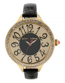 Betsey Johnson Womens Gold Case Set in Crystal and Black Patent Leather Strap Standard BJ0038702 - Gold