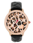 Betsey Johnson Leopard Dial and Black Quilted Heart Strap - Black