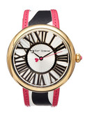 Betsey Johnson Fashion Show Round Zebra Watch - Black/White