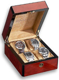 Venlo Triple Burlwood Collection 4 Watch Case
