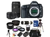 Canon EOS 5D Mark III Digital Camera with 75-300mm f/4.0-5.6 III USM & 50mm f/1.8 II Lenses. Includes Wide Angle & Telephoto Lenses, 3 Piece Filter Kit (UV-CPl-