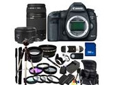 Canon EOS 5D Mark III Digital SLR with 75-300mm f/4.0-5.6 III USM & 50mm f/1.8 II Lenses + Wide Angle & Telephoto, 3 Piece Filter Kit (UV-CPl-FLD), 4 Piece Macr