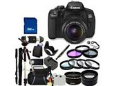 Canon 650D / EOS Rebel T4i Digital Camera with EF-S 18-55mm  IS II Len. Includes: Wide Angle & Telephoto Lenses, 3 Piece Filter Kit (UV-CPL-FLD), 4 Piece Macro