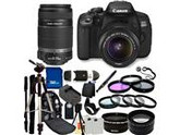 Canon 650D / EOS Rebel T4i Digital Camera with EF-S 18-55mm  IS II Lens & EF-S 55-250mm IS II Lenses. Also Includes: Wide Angle & Telephoto Lenses, 7 Pro Filter