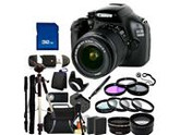 Canon 1100D / EOS Rebel T3 Digital Camera and 18-55mm IS II Lens Kit. Includes: Wide Angle & Telephoto Lenses, 3 Piece Filter Kit (UV-CPL-FLD), 4 Piece Macro Fi