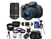 Canon EOS Rebel T5i DSLR Triple Lens Kit with 18-55mm IS STM, 55-250mm IS II Lenses. Includes: Wide Angle & Telephoto Lenses, 3 Piece Filter Kit (UV-CPL-FLD), 1