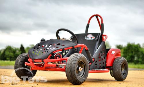 Red kids 1000w 48V Brushless Go Kart front view