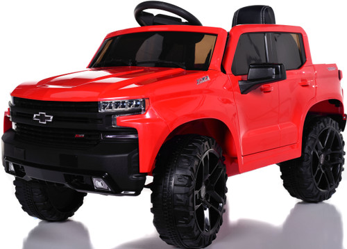 Chevy Silverado Ride On Pickup Truck w/ Remote Control & Leather Seat - Red