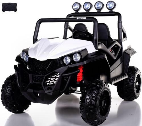 24v Trail Cat 2.0 Ride On UTV w/ Rubber Tires & Leather Seat - White