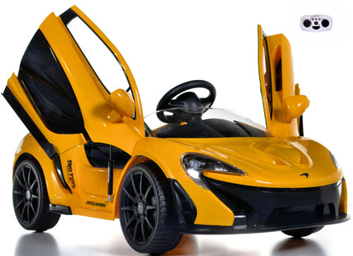 yellow McLaren toddler Ride On Car w/ doors front view butterfly doors open and up white background w/ remote control