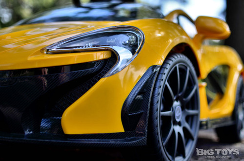 Yellow McLaren toddler Ride On Car driver-side headlight front bumpe