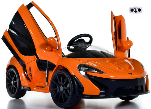 orange McLaren toddler Ride On Car w/ doors front view butterfly doors open and up white background w/ remote control