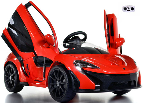 red McLaren toddler Ride On Car w/ doors front view butterfly doors open and up white background w/ remote control