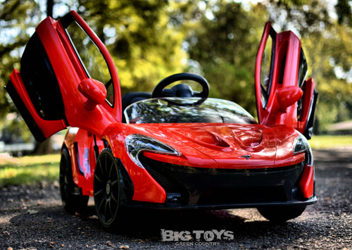Red McLaren ride on car for kids vertical doors Lambo doors