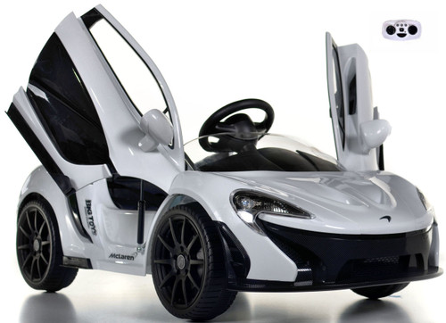 white McLaren toddler Ride On Car w/ doors front view butterfly doors open and up white background w/ remote control