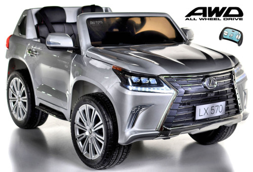 Lexus Ride-On SUV remote controlled rubber tires painted silver leather seat white background