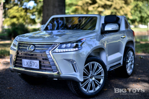 Lexus Ride-On SUV remote controlled rubber tires painted silver leather seat