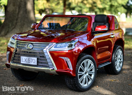 Lexus Ride-On SUV remote controlled rubber tires  leather seat painted red