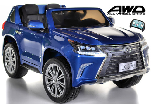 Lexus Ride-On SUV remote controlled rubber tires  leather seat painted blue