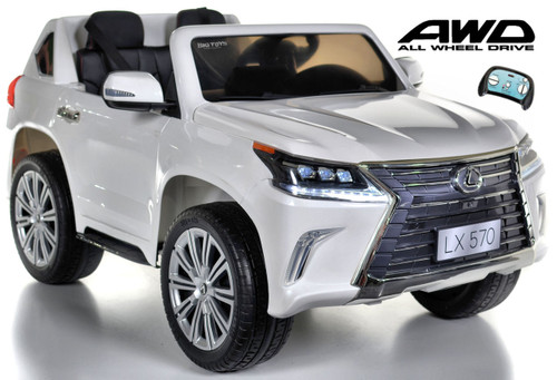 Lexus Ride-On SUV remote controlled rubber tires  leather seat painted white