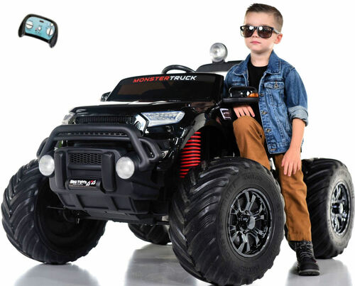 Monster Truck 4x4 Ride On Kids Toddler Truck RC w/ Rubber Tires - Black