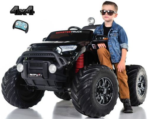 Monster Truck 4x4 Ride On Kids Toddler Truck RC w/ Rubber Tires - Black