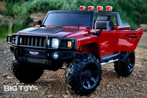 Kids Ridge Runner Ride On Pickup Truck w/ rubber tires 2 seats Red leather seat