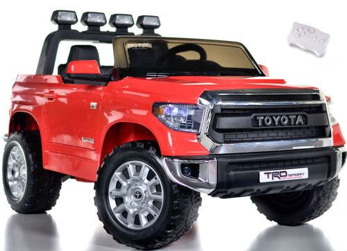 Toyota Tundra Ride On Truck w/ RUBBER TIRES & LEATHER SEAT - Red