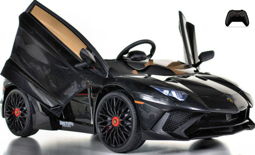 Toddler Lamborghini Ride On Car w/ Leather Seat & Large Motors - Black